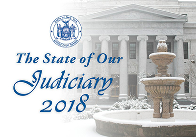 The State of Our Judiciary 2018: Chief Judge Janet DiFiore - with picture of Court of Appeals