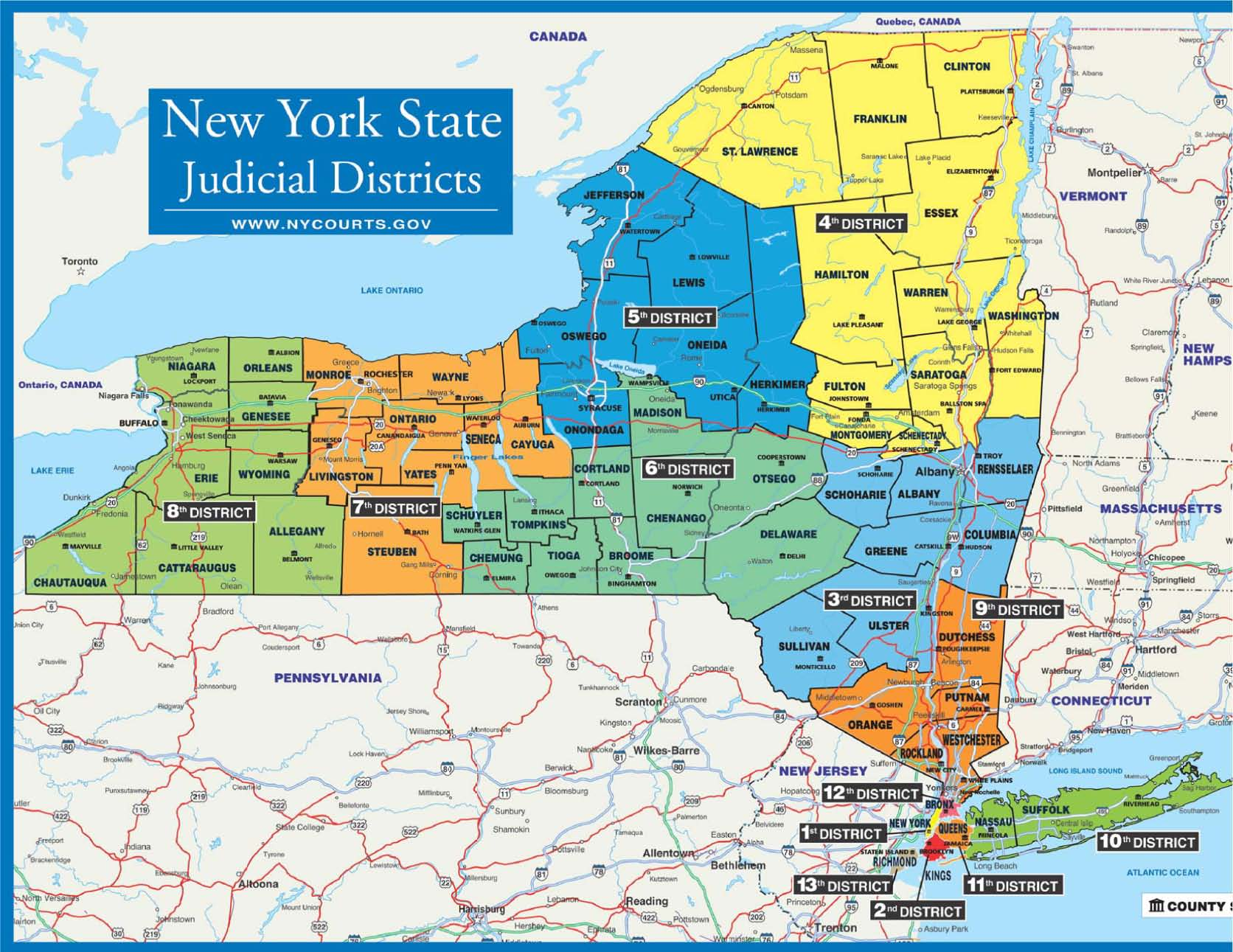 Map Of New York District Courts.About The Court