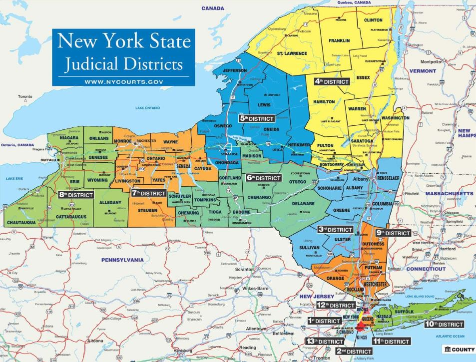 Map Of New York District Courts.Appellate 4th