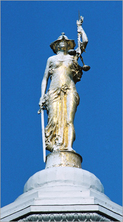 ... The statue of Lady Justice adorning the dome of the Ontario County  courthouse is the third  This bronze ... 98689dec3f
