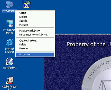 Image of Desktop Showing Right Mouse Button Menu, Highligting Properties button