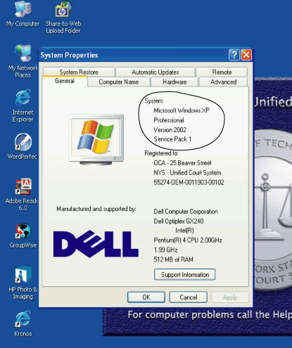 Image of System Properties Window, Where Windows Version Can be Found